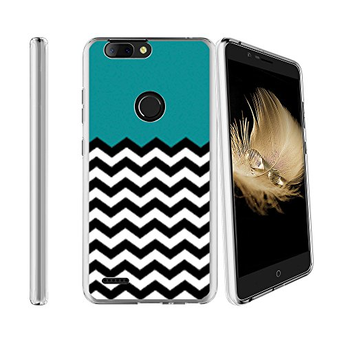 Compatible with ZTE Blade Z Max Sequoia Z982 Soft Flexible TPU Gel Skin Case [Ultra Slim] Cover - Teal Chevron