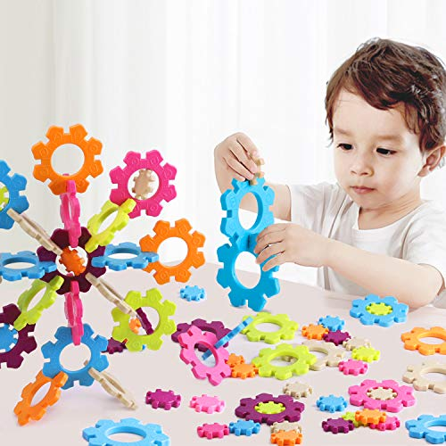- iPlay, iLearn Kids Chunky Brain Snow Flakes Toys, STEM Building Gear Sets W/ Sounds, Interlocking 3D Puzzle Set, Learning, Educational Gift for 2, 3, 4, 5, 6, 7 Year Olds, Boys, Girls, Toddlers