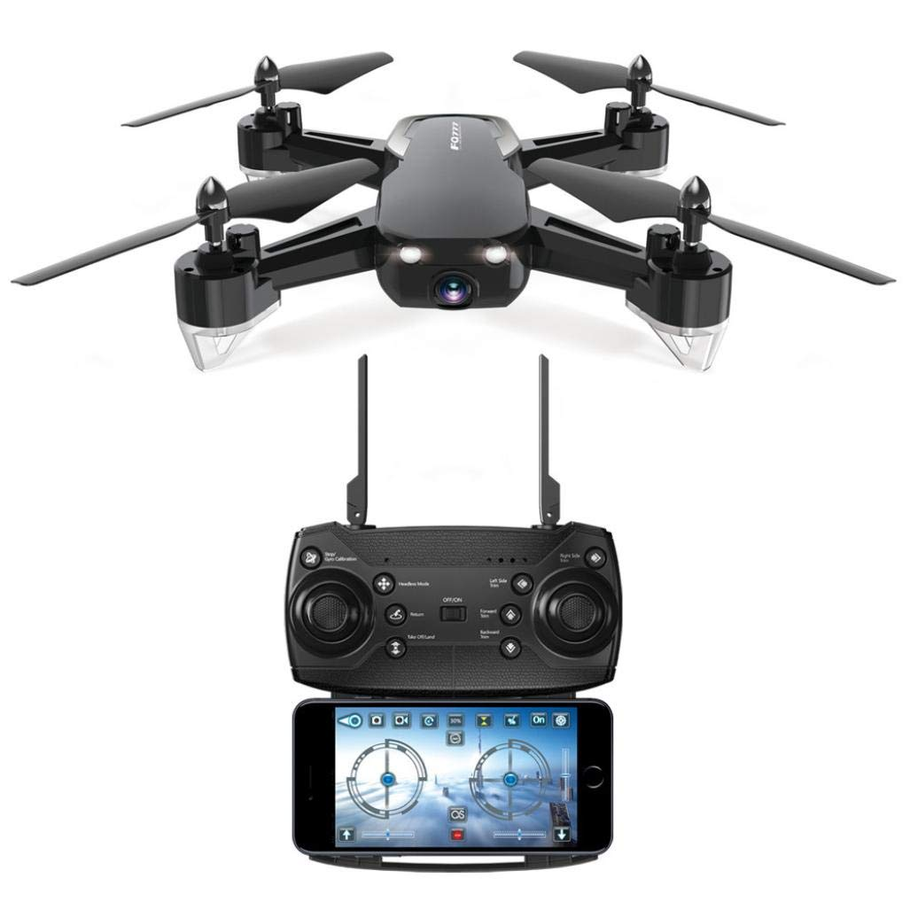 Yezijin Unmanned Aerial Vehicle, UAV, FQ40 2.4G 720P Wide-Angle WiFi HD Camera Drone RC Helicopter Quadcopter Hover (Black)