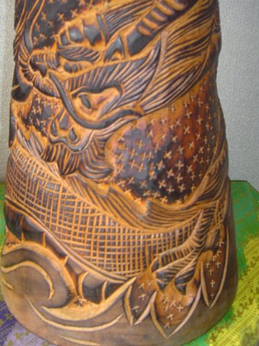 20'' Handmade Deep Carved Djembe Bongo Drum DRAGONS with Free Cover, Model # 50M21
