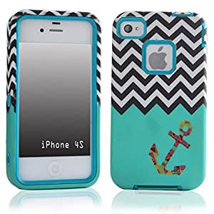 SUPWISER-04AKUAN Three-in-One Hybrid Back Case Cover Fit For iPhone 4 4S with Stylus Pen,Screen Protector and Cleaning Cloth
