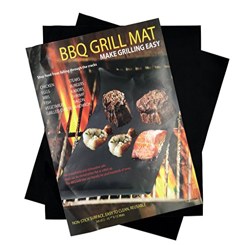 BBQ Grilling Mats - LIFETIME WARRANTY - NONSTICK Baking, Frying & Barbecue Grill Mats by Fire It Up (15.75