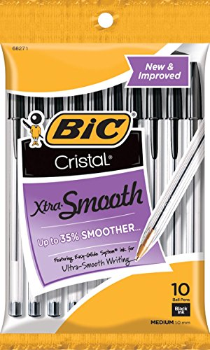 BIC Cristal Xtra Smooth Ballpoint Pen, Medium Point (1.0mm), Black, 10-Count