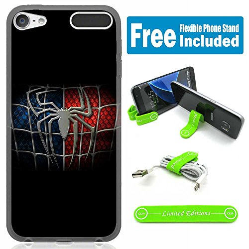 [Ashley Cases] TPU Skin Cover Case for iPod Touch 5th/6th Generation with Flexible Phone Stand - Spiderman Logo Black - Spiderman Case For Ipod