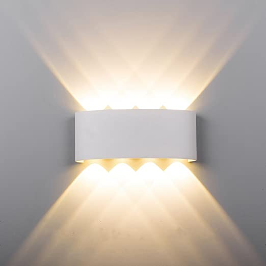 Maxmer 8W Modern LED Wall Light Sconce IP68 Waterproof Outdoor Wall Lamp Up Down Wall Lighting, Warm White
