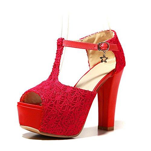 Allhqfashion Donna Fibbia Peep-toe Tacchi Alti Sandali Rosso Solido