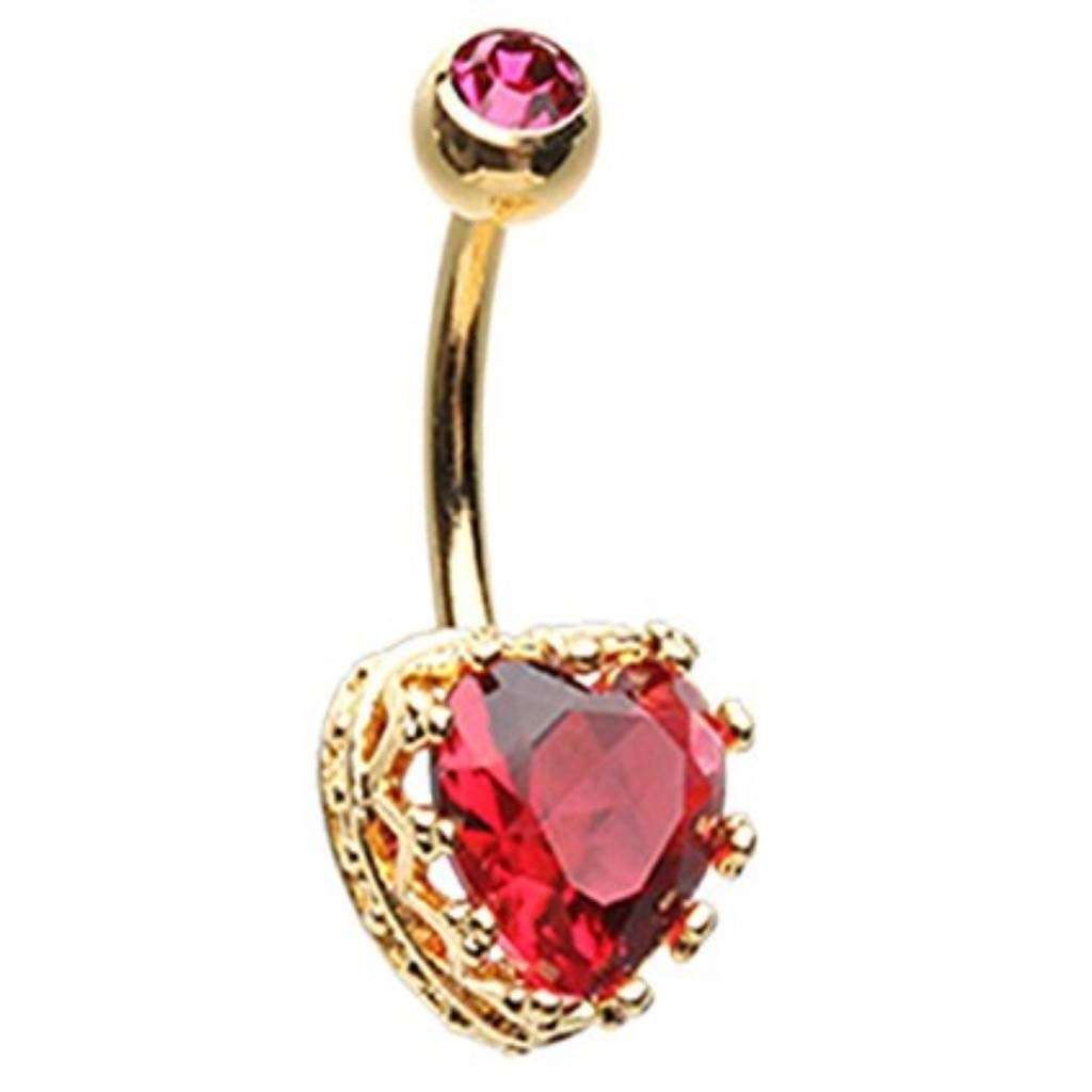 Inspiration Dezigns 14G Sacred Heart Crown Belly Button Navel Ring