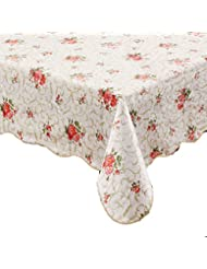 ennas cz094 flannel backed vinyl table cloth waterproof oblongrectangle 60 inch by 90 inch oblongrectangle - Kitchen Table Covers Vinyl