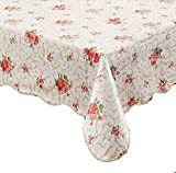 #6: Artisan Flair AF5472-094Red Flower Flannel Backed Vinyl Tablecloth Waterproof Oblong(rectangle)-54