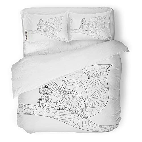 Emvency 3 Piece Duvet Cover Set Brushed Microfiber Fabric Breathable Squirrel Sitting on Tree Branch and Eating Pine Cone Freehand Sketch for Adult Bedding Set with 2 Pillow Covers Full/Queen Size ()