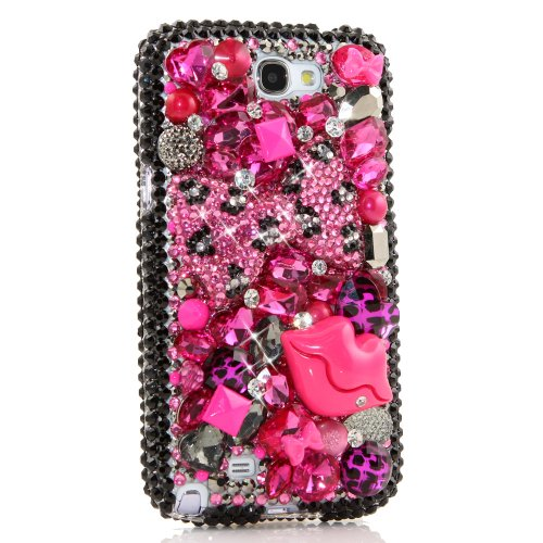 Samsung Note 2 Luxury 3D Bling Case - Gorgeous Magenta Lip Pink Leopard Bow Sweet Kiss Design - Swarovski Crystal Diamond Sparkle Girly Protective Cover Faceplate (100% Handcrafted By Star33mall)