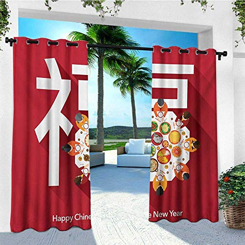 (leinuoyi Chinese New Year, Outdoor Curtain of Lights, Happy Family Sitting on The Festive Dinner Table with a Big White Letter, Outdoor Patio Curtains W84 x L96 Inch Multicolor)