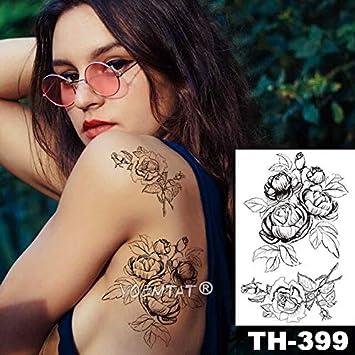 HXMAN 5 Unids Impermeable Tatuaje Temporal Pegatina Negro Rosas ...