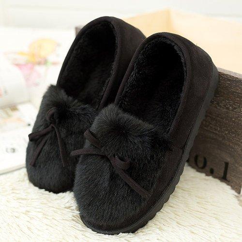 Y-Hui invierno zapatillas de algodón en mujeres Home Furnishing Pantuflas zapatos caliente suave antideslizante Foundation,38 (Código estándar), Negro