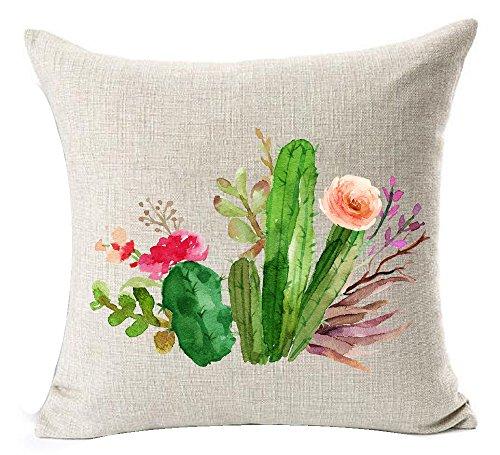 Cotton Linen Green plants Succulents Cactus Prickly Pear Square Throw Waist Pillow Case Decorative Cushion Cover Pillowcase Sofa 18x 18 (1)