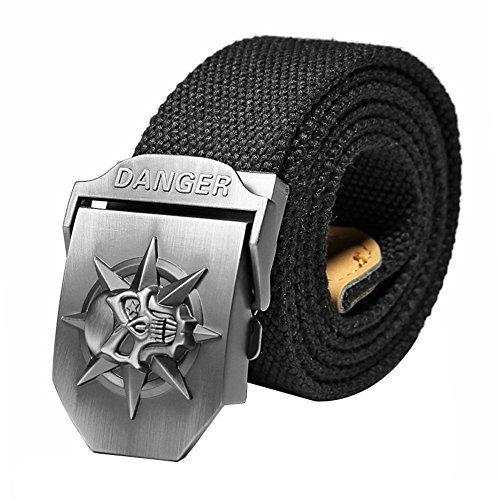 Ayliss Men's Military Style Canvas Web Belt Danger Skull Buckle Tactical Belt,120cm/47.2