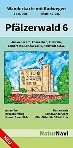Pfälzerwald 6  Wanderkarte Mit Radwegen Blatt 43 546 1   25 000 Annweiler A.T. Edenkoben Elmstein Lambrecht Landau I.d.P. Neustadt A.d.W.  NaturNavi Wanderkarte Mit Radwegen 1 25 000