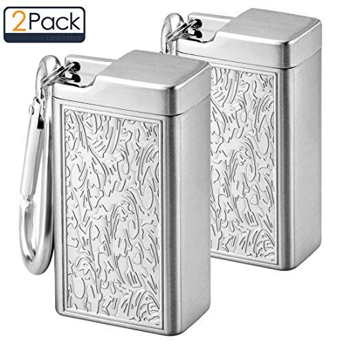 Metal Portable Ashtray, Small Outdoor Cigarettes Cigars Ashtray with Lid, Keychain, Modern Easily Bringing Ashtray for Travelling, Camping, Picnic, Indoor Auto, Home, Sand, Car, Patio (2PCS Silver)