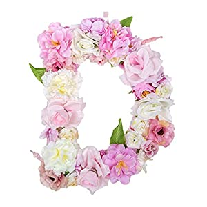 DARONGFENG Decorative Hanging Letters,Handmade Artificial Floral Monogram Letter,Wedding Birthday Party Festival Decor,Bedroom Living Room Home Office Wall Decoration 1