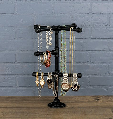 Review Chic Industrial Tabletop Jewelry Tree by Pipe Decor   Rustic DIY Style Stand For Hanging Necklaces, Chains, Watches And Bracelets, Display And Organize Items For Easy Access, Made Of Black Metal Pipe