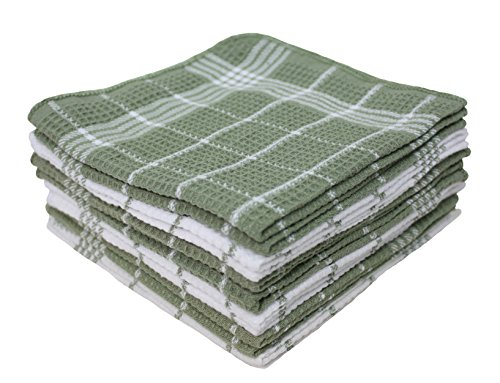 (Cotton Waffle Checkered Terry Dish Cloths, 13x13