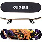 "ohderii Complete Longboard Skateboards 31"" X 8"" Cruiser Skateboard Through Downhill 7 Layer Canadian Maple Skateboard Deck Concave Skateboards Beginners Pro"