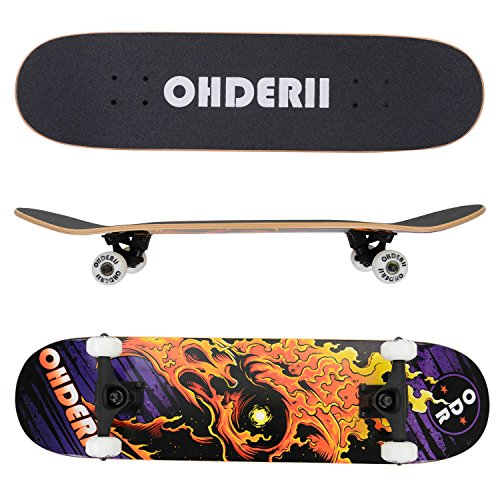 "Price comparison product image Ohderii Skate Complete Skateboards 31"" X 8"" Longboard Skateboard Cruiser Through Downhill Complete Canadian Maple 7 layers (Aquila Fire)"