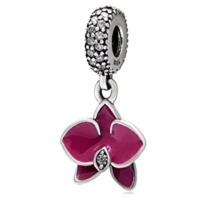 Fuschia Enamel Orchid Charms Pendant Authentic 925 Sterling Silver Flower Bead with Clear Cz Stone Fit European Charms Bracelet kW5rCOU