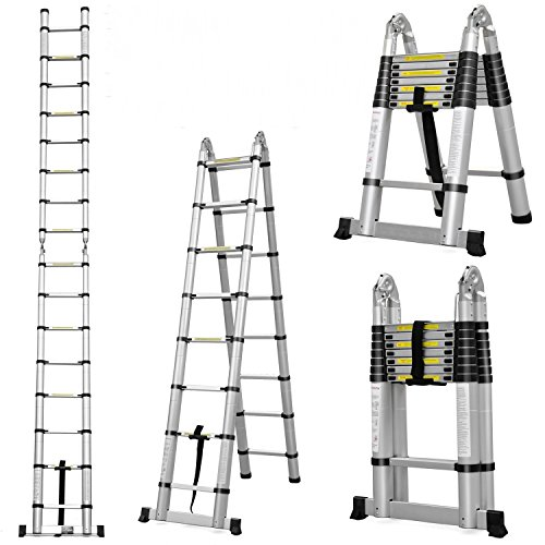 5M 16.4FT MULTI PURPOSE TELESCOPIC FOLDING A-FRAME LADDER + FREE CARRY BAG + NEXT WORKING DAY DELIVERY