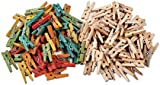 Creation Station New Mini Clothes Pegs Wood, Pack of 200, Natural and Assorted Colours