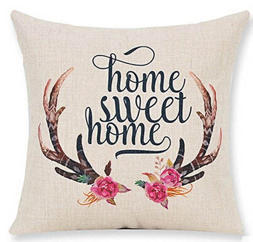Nordic Christmas Elk Bucks Reindeer Antlers Home Sweet Home Cotton Linen Throw Pillow Case Personalized Cushion Cover NEW Home Office Indoor Decorative Square 18 X 18 Inches