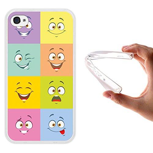 WoowCase Hülle Case für { iPhone 4 iPhone 4S } Handy Cover Schutzhülle Multifarbige expressive Zeichentrickfilmfiguren