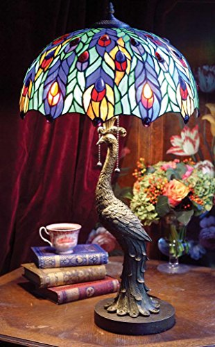 Victorian Trading Co Peacock Lamp Stained Glass Shade NIB