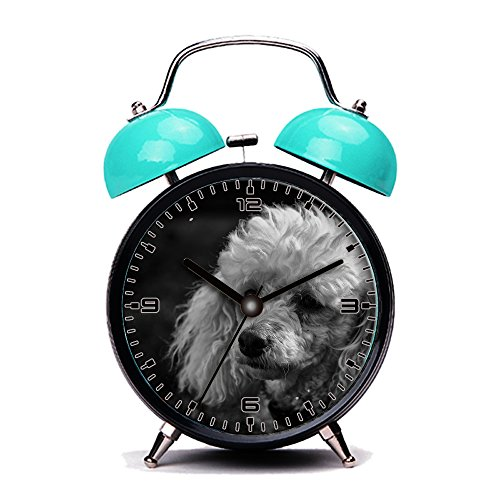 Blue Alarm Clock, Retro Portable Twin Bell Beside Alarm Clocks with Nightlight-049.Black And White, Poodle, Dog, Purebred, Domestic, Pet 51pGC4mXSAL