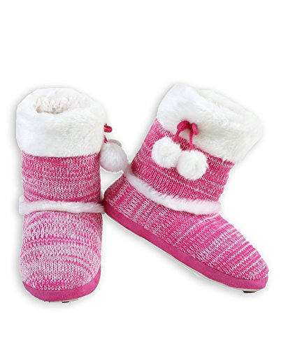 weater Knit Bootie Slipper with Faux Fur Trim (Pink, Medium/Large, 8-10 US) ()
