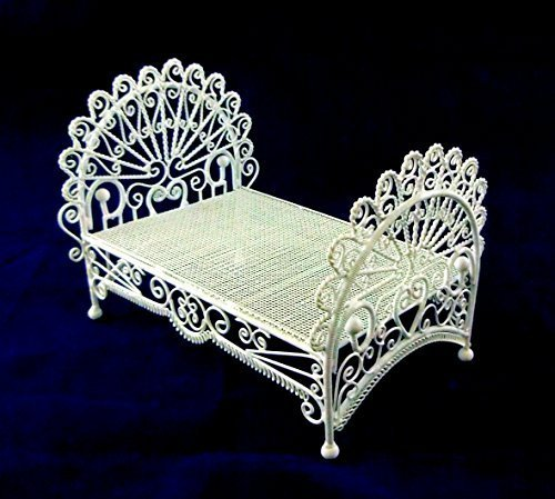 Vanity Fair Dolls House Miniature 1:12 Bedroom Furniture White Wire Wrought Iron Peacock (White Wrought Iron Beds)