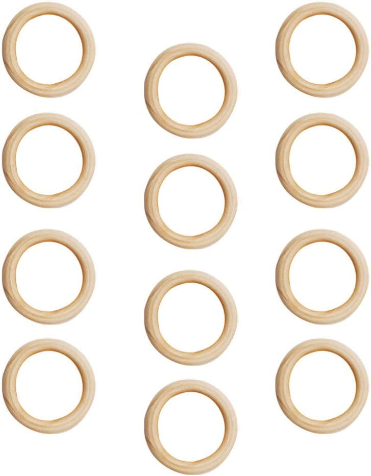 SUPVOX 200pcs Unfinished Wood Ring Natural Wood Circles for DIY Craft Baby Teething Ring Pendant Connectors Jewelry Making 15mm