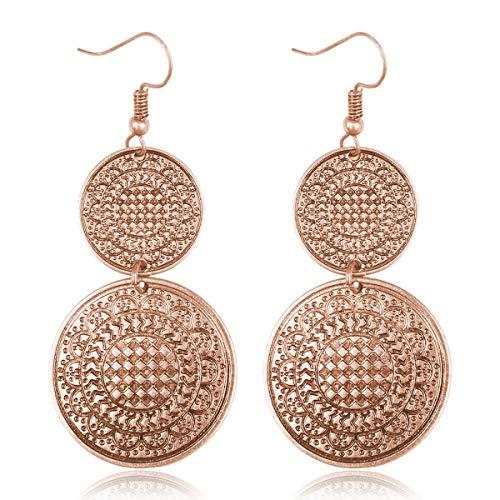 RIAH FASHION Bohemian Vintage Coin Mandala Circle Drop Earrings - Moroccan Ethnic Hook Dangles Round Metallic Disc/Aztec Shield Chandelier Tassel (Circle - Rose Gold) ()