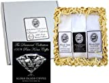 100% Pure Kona Coffee Assortment Gift Sampler, Three Roasts of Pure Kona Coffee in Silver Gift Box, for Christmas, Birthday, Corporate Gifts, All Occasions, Ground Coffee, Brews 36 Cups