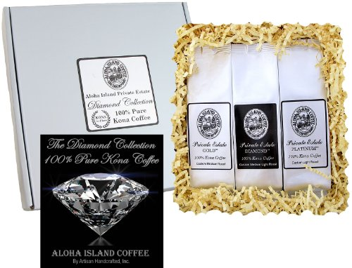 100% Unadulterated Kona Coffee Assortment Gift Sampler, Three Roasts of Pure Kona Coffee in Silver Gift Box, for Christmas, Birthday, Corporate Gifts, All Occasions, Prepare Coffee, Brews 36 Cups