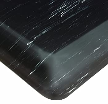 "Wearwell PVC 496 Smart Tile-Top Medium Duty Anti-Fatigue Mat, Tapered Edges, for Dry Areas, 3' Width x 5' Length x 7/8"" Thickness, Black"
