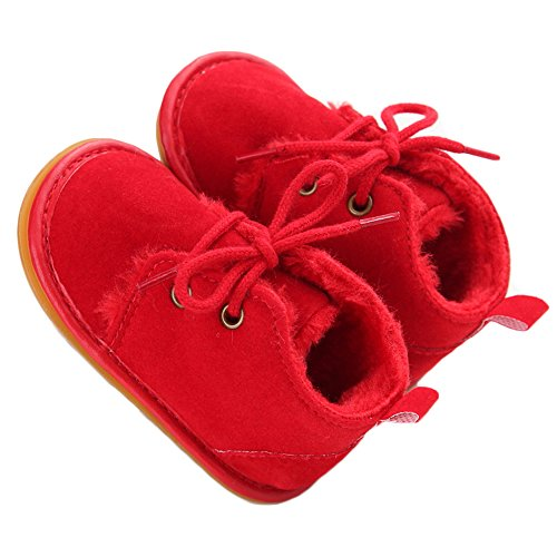 Baby Shoes Winter Plush Rubber Sole Laces Boots Red 6-12 Months