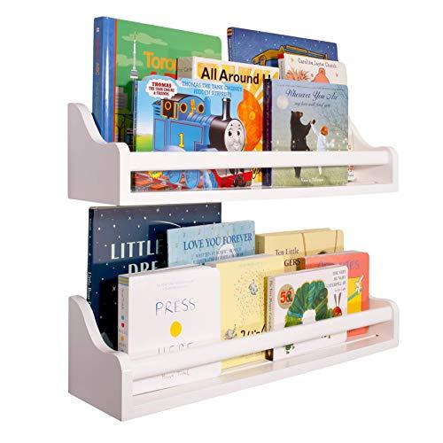 Floating Wall Mounted Shelf (Set of 2) | 22″ | Reversible Large Wooden White Nursery Shelves, Baby Decorations, Kids Bookshelf, Displays Toys Books, Easy Install, Bathroom Kitchen Organizer