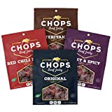 Chops Beef Jerky 4 Bag Mixed Assortment Original, Red Chili Pepper, Sweet and Spicy and Teriyaki