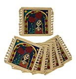 SpiritFest Sugar Skull Coasters: Set of 6 Day of the Dead Table Saving Decor (Santa Muerte)