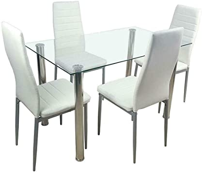 Amazon Com 5 Piece Dining Table Set White 4 Chair Glass Metal Kitchen Dining Room Breakfast Table Chair Sets
