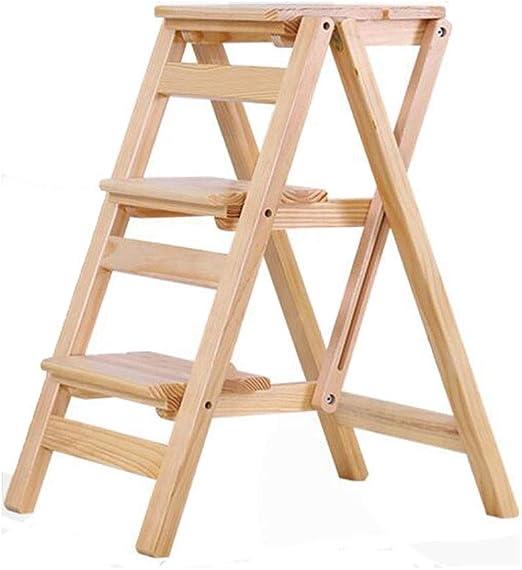 Silla plegable de Tres Capas Escalera de Madera Taburete de Almacenamiento Multifunción Escalada Cocina Alta 42 * 55 * 68 cm MUMUJIN (Color : Log Color): Amazon.es: Hogar