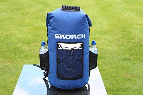 SKORCH Original Dry Bags, Duffle and Waterproof Backpacks - Protect Your Gear From Water and Sand While You Have Fun (Blue Waterproof Backpack with Pockets 40L)