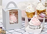 YoTruth Pale Grey Cupcake Boxes Single 25 Pack Easy Pop-up Assembly Bottom