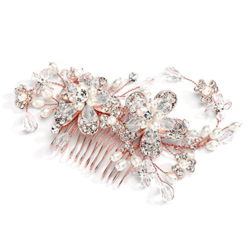 Mariell Vintage Wedding Rose Gold Hair Comb for Brides - Blush Flowers, Pearls & Crystal Hair Vine Sprays
